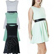 New Ladies Womens Sleeveless Flared Party Mini Skater Dress Top Size S M L 8 14