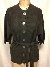 Jones New York Button Front Belted Cardigan Sweater Olive NWT