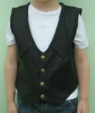 Kids Boys / Girls Real All Leather Black Braided Waistcoat Biker Various Sizes