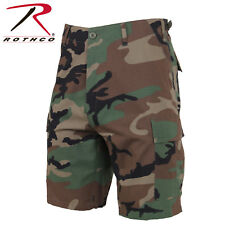 Woodland Camouflage Military BDU Combat Cargo Shorts 100% Cotton Rip Stop 7056
