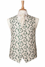 MENS MILANO GREEN & IVORY SWIRL WEDDING DRESS SUIT VEST WAISTCOAT ALL SIZES