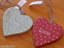 DOTTY HANGING WOODEN HEART PLAQUE CHRISTMAS TREE DECORATION SHABBY CHIC VINTAGE