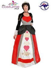 Deluxe Queen of Hearts Adult Fairytale Long Fancy Dress Gown Costume 8-22 PLUS