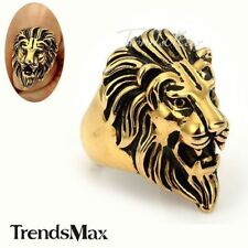 Mens Boys ROARING LION Head Ring Black/Gold Tone Stainless Steel Ring Size 8-13