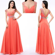Coral Chiffon Cap Sleeves Long Formal Prom Dresses Party Bridesmaid Evening Gown