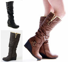 Boots Womens Knee High Faux Leather Wedge Platform Shoes Size 3-8 New