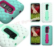 LG Optimus G2 Impact Kickstand Chic Cute Diamond Studded Bling Phone Case Cover