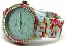 Geneva Women Watch Aqua Red n Pink Flower Water Graphic Print Stone Around
