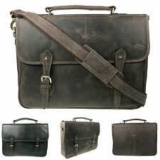 Mens Oiled Real Distressed Leather Briefcase Messenger Satchel Bag Vitali B1306