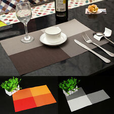 1PC Hot Home Kitchen Dining Placemat Fashion Adiabatic PVC Strip Weave Table Mat