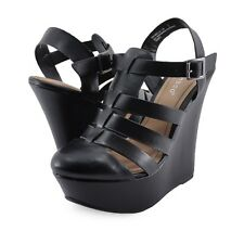 Women's Shoes Bamboo Pamela 34 Strappy Fisherman Platform Wedges Black *New*