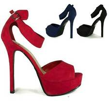 Womens Lipstick Red Delicious Shoes Game-H Faux Suede Peep Toe Platform Heel