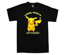 Pokemon Pikachu Personalized Custom Birthday Shirt in 8 Different Colors