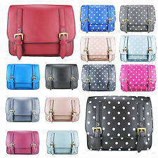 Polka Dots Vintage Leather Style Work Satchel Shoulder Bag Mini Small Briefcase