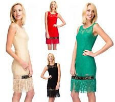 Ladies Vintage Luxe Lace Tassel Flapper Look Style Jewelled Accents Fringe Dress