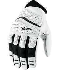 ICON MENS SUPER DUTY 2 GLOVES WHITE BLACK LEATHER MOTORCYCLE RIDING STREET NEW