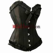 Black Corset Burlesque Basque lace up boned Busiter Fancy Dress Costume S-2XL