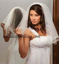 "Elbow Length Bridal Veil 2 Layer 25"" Long Ribbon Edge With Scattered Rhinestones"