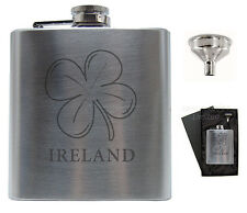 IRELAND SHAMROCK WHISKY HIP FLASK SET Perfect Gift Souvenir New CAN ENGRAVE