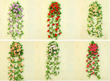 1pc Artificial Fake Silk Rose Flower Ivy Vine Hanging Garland Home floral Decor