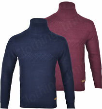 H7 Mens Roll Turtle Polo Funnel Neck Jumper Knitted Winter Top