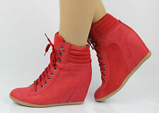 2014 Women Velcro High Top Sneakers Trainers Hidden Wedge Heel Shoes Ankle Boots