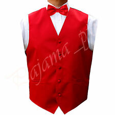 NEW RED Satin Solid Vest Waistcoat and Bow Tie Suit or Tuxedo Formal Prom