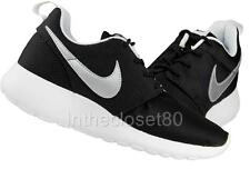 NEW NIKE ROSHERUN GS ROSHE RUN WOMENS GIRLS BOYS TRAINERS BLACK WHITE SILVER