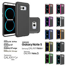 DUAL LAYER SHOCK PROOF HARD SILICON CASE FOR SAMSUNG GALAXY S7 EDGE 6 5 NOTE 345