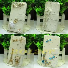 white Pretty 3D Luxury Handmade bling flip PU leather case cover For LG Phone