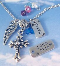 Personalized Cross Angel Wing Faith Necklace Women's Fashion Mother's Day Gift