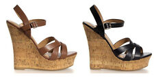 Ankle Strap PU-Leather Women Wedge Platform Shoes Sandals Cork High Heel Strappy