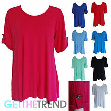 Womens Roll Up Sleeves Oversized Baggy Top Ladies Swing Tunic Plus Size 14-28
