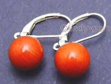 SALE Big 10MM Red Round naural coral earring with silve S925 leverback-ear373