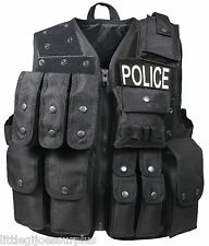 BLACK Police, SWAT Military FBI Tactical Raid Vest (PATCHES NOT INCLUDED) 6785