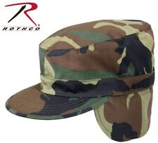 WOODLAND CAMO Military Style Cold Weather Patrol Fatigue Cap With Ear Flaps 5612
