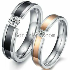 Stainless Steel Tension Charm CZ Couples Engagement Ring for Wedding Promise