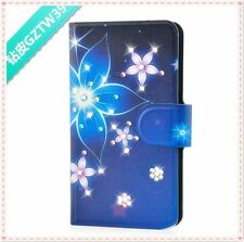 hot Bling Diamond Purple and Blue Flower flip PU leather case cover for Lenovo