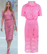 Pink See-through Lace All-over Shirt Blouse Midi Pencil Skirt Set Paloma Faith