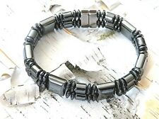 Mens Womans THERAPEUTIC 100% Magnetic Hematite Bracelet Anklet Super Power 2 Row