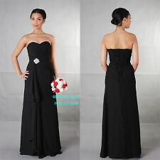 Black Chiffon Formal Long Evening Ball Gown Party Prom Bridesmaid Dress SZ 8-22
