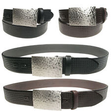 Vitali Patterned Flat Buckle Mens Italian Leather Jeans Belt Made in Italy 3904