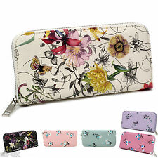 Womens / Ladies Floral Print Purse inc Strap; Inner Coin Section; Faux Leather