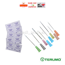 TERUMO NEEDLES STERILE + SWABS CHOICE OF 9 SIZES & QTY BLUE INK FAST