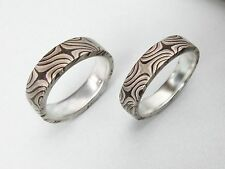 Two Mokume Gane Rings, Tricolor, for Wedding, Anniversary, or a perfect Gift