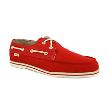 Vans Foghorn Mens Boat Casual Shoes Canvas Chili Red Grey New Shoes 7 9 10 11 UK