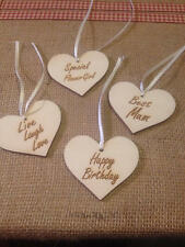 Large Engraved Wooden Heart Gift Tag Buy 2 get 1 Free 65mm x 60mm