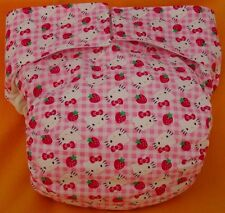 All In One Adult Baby Reusable Cloth Diaper S,M,L,XL Hello Kitty on Pink Gingham