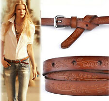 fashion women's carved genuine leather thin all-match casual pin buckle belt