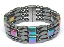Men's Power Magnetic Hematite Bracelet Anklet RAINBOW four row THERAPY GOLF 7/8""